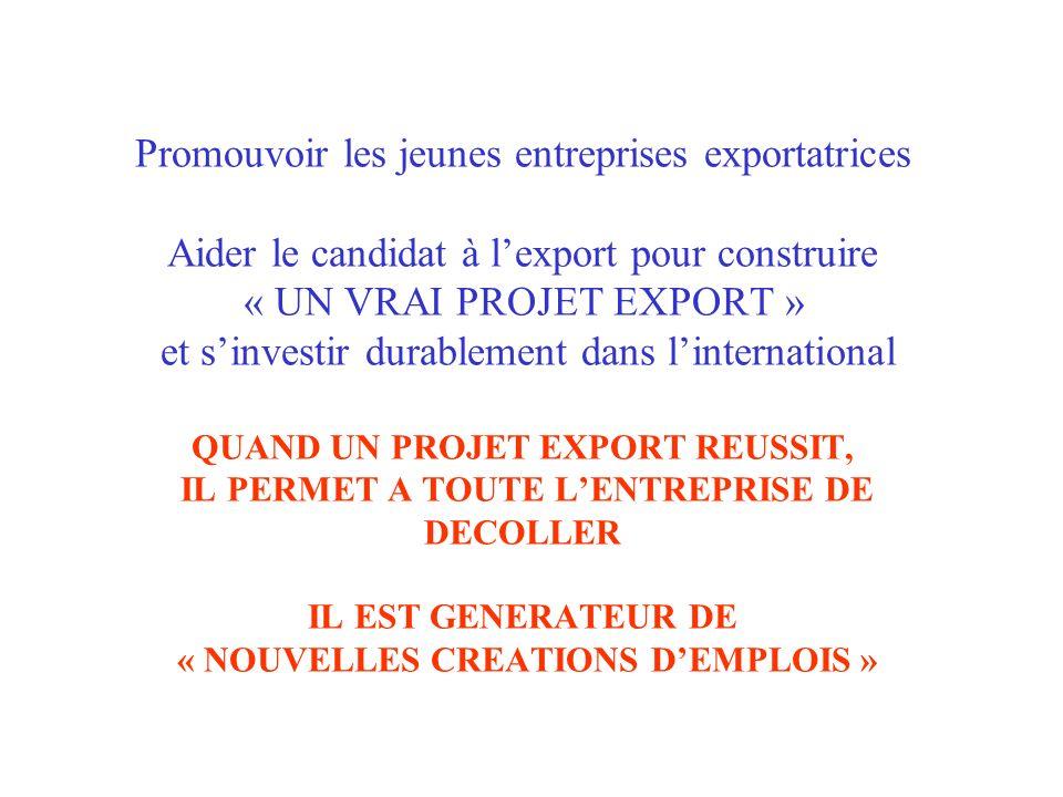 Promouvoir les jeunes entreprises exportatrices Aider le candidat à l'export pour construire « UN VRAI PROJET EXPORT » et s'investir durablement dans l'international QUAND UN PROJET EXPORT REUSSIT, IL PERMET A TOUTE L'ENTREPRISE DE DECOLLER IL EST GENERATEUR DE « NOUVELLES CREATIONS D'EMPLOIS »