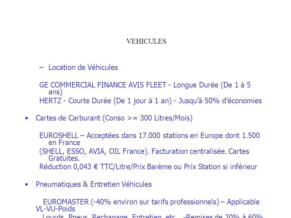 VEHICULES Location de Véhicules. GE COMMERCIAL FINANCE AVIS FLEET - Longue Durée (De 1 à 5 ans)