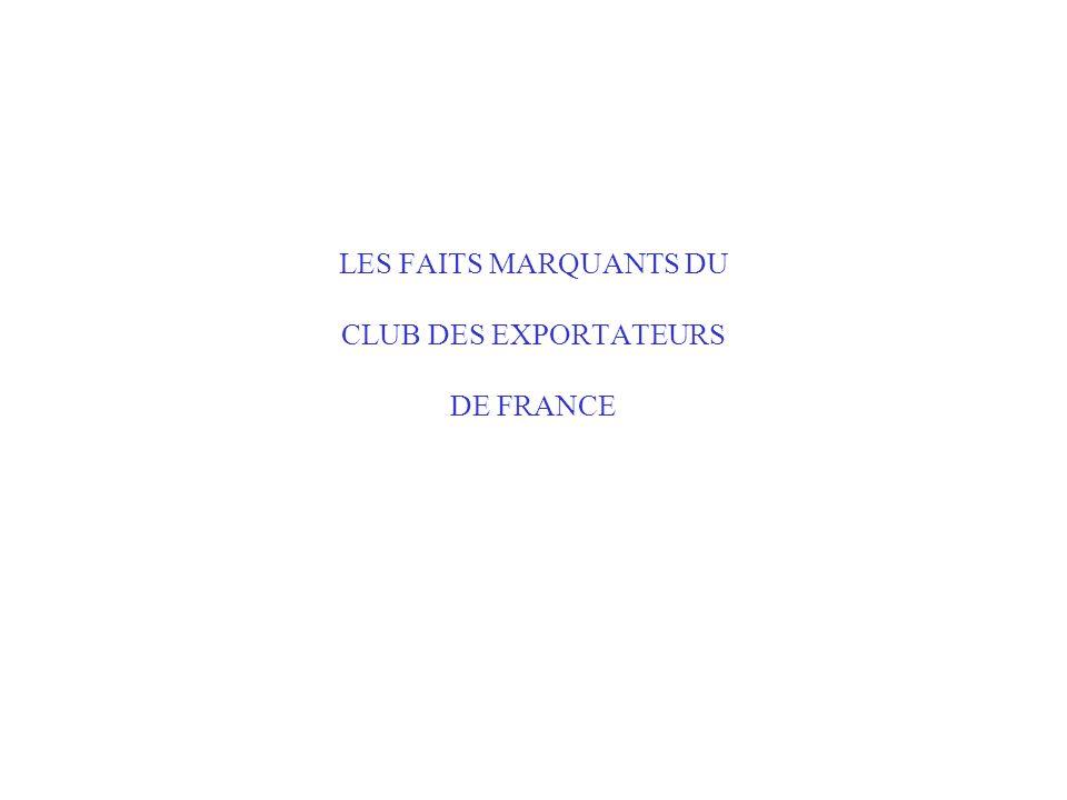 LES FAITS MARQUANTS DU CLUB DES EXPORTATEURS DE FRANCE