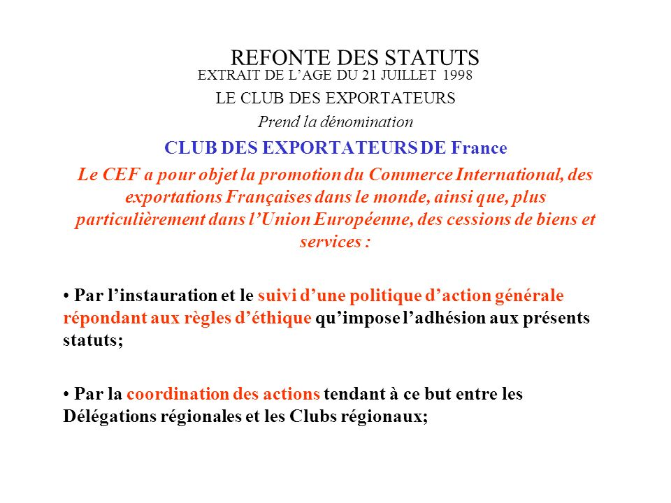 CLUB DES EXPORTATEURS DE France
