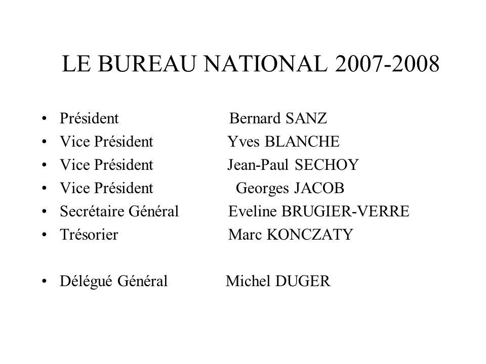 LE BUREAU NATIONAL 2007-2008 Président Bernard SANZ