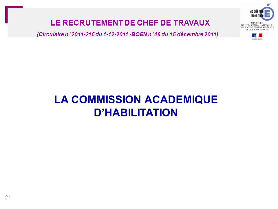 LA COMMISSION ACADEMIQUE D'HABILITATION