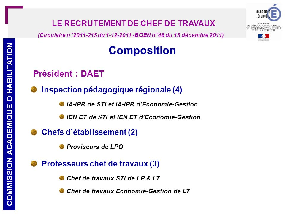 LE RECRUTEMENT DE CHEF DE TRAVAUX COMMISSION ACADEMIQUE D'HABILITATION