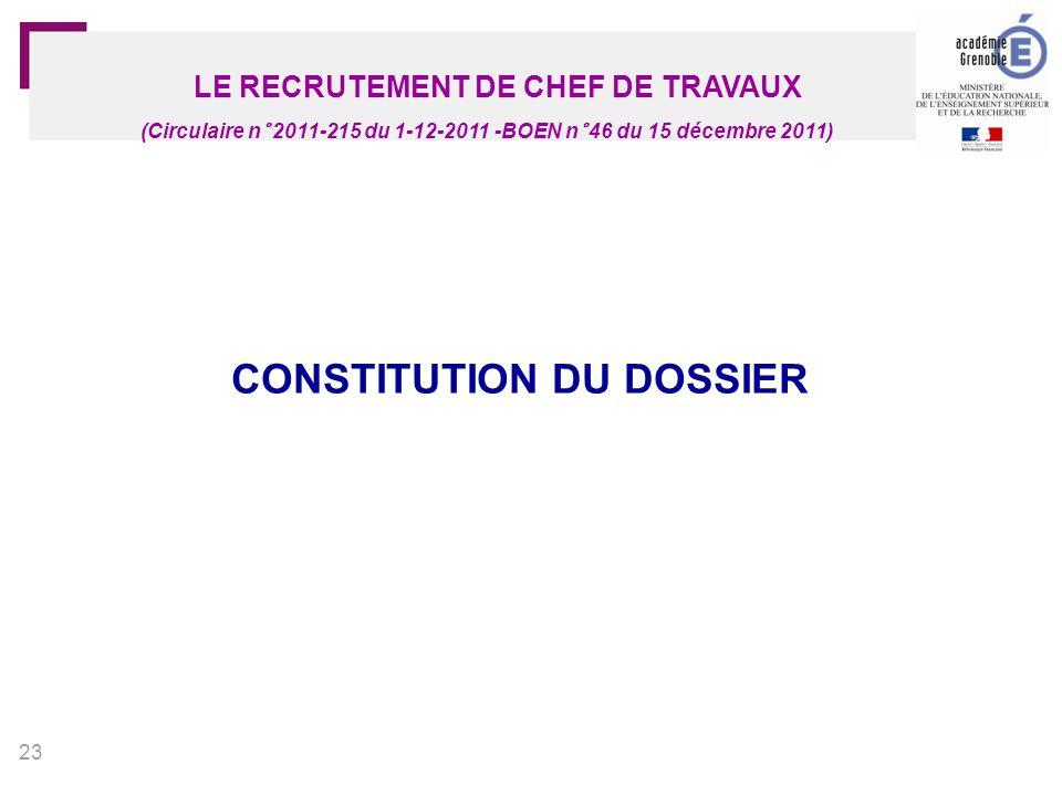 LE RECRUTEMENT DE CHEF DE TRAVAUX CONSTITUTION DU DOSSIER