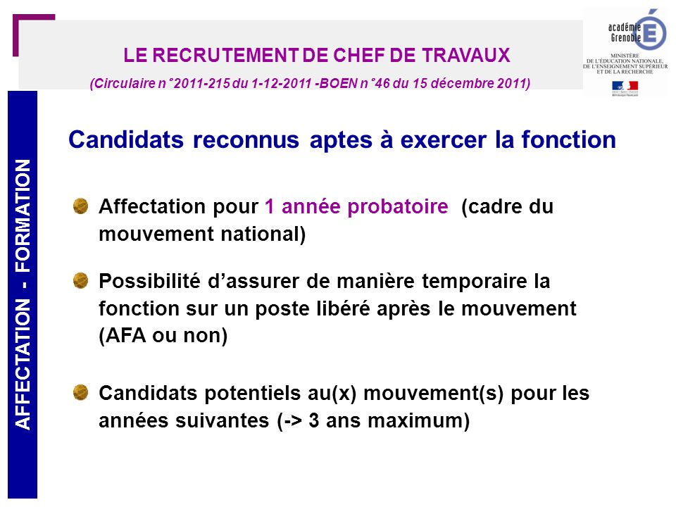 LE RECRUTEMENT DE CHEF DE TRAVAUX AFFECTATION - FORMATION