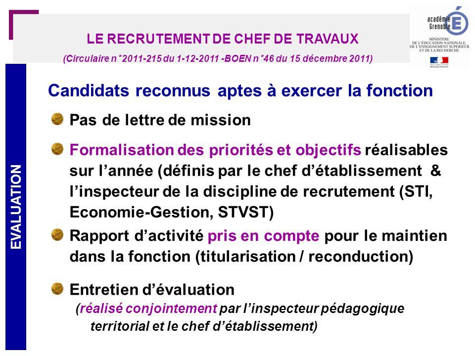 LE RECRUTEMENT DE CHEF DE TRAVAUX
