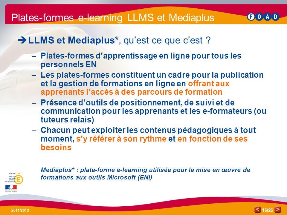 Plates-formes e-learning LLMS et Mediaplus