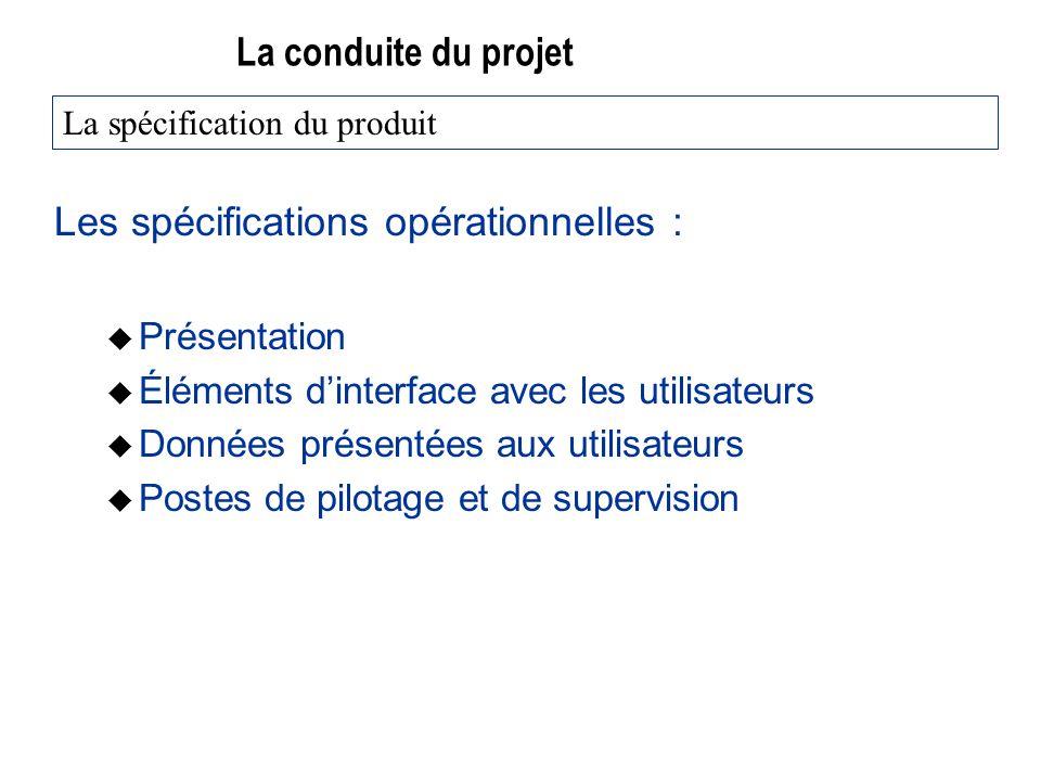 Les spécifications opérationnelles :