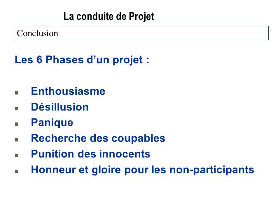 Les 6 Phases d'un projet : Enthousiasme Désillusion Panique