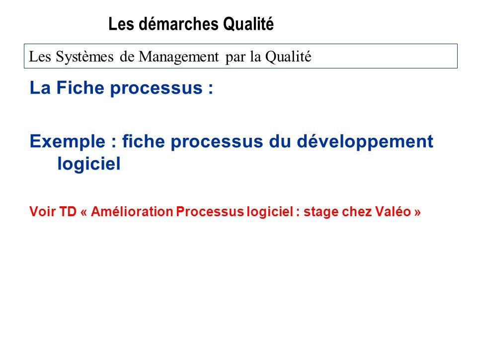 Exemple : fiche processus du développement logiciel