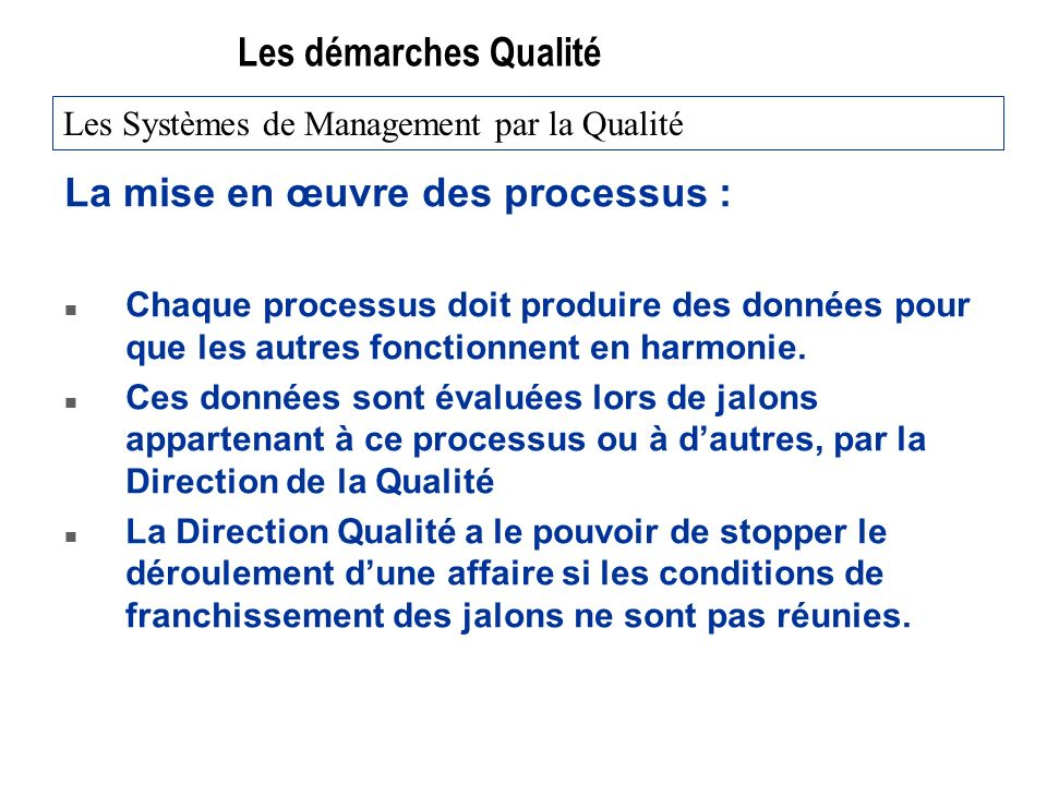 La mise en œuvre des processus :