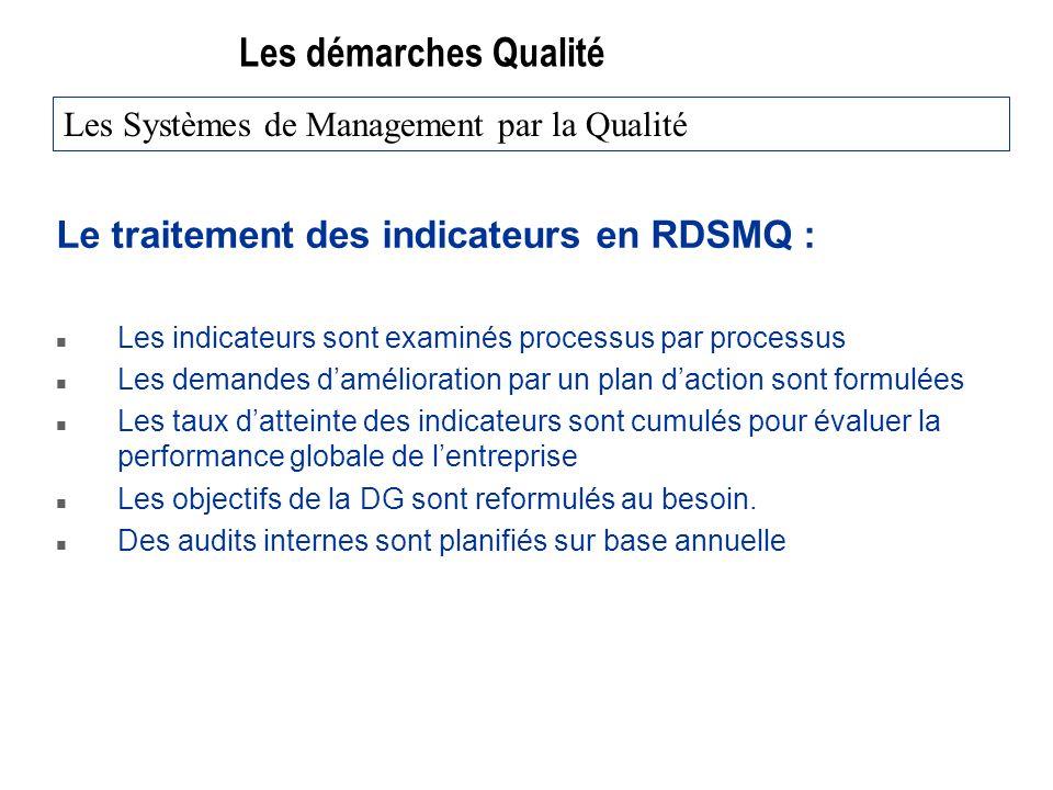 Les démarches Qualité Le traitement des indicateurs en RDSMQ :