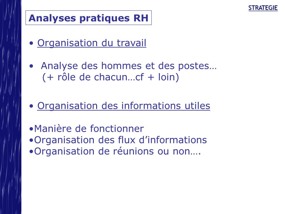 Organisation du travail Analyse des hommes et des postes…