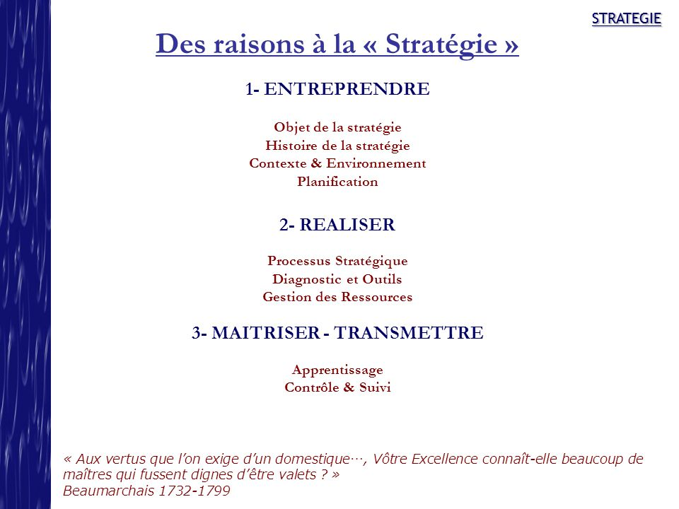 Des raisons à la « Stratégie »