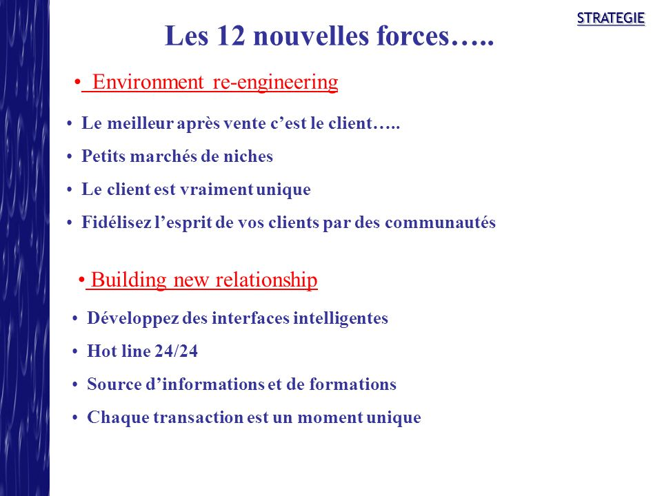 Les 12 nouvelles forces….. Environment re-engineering