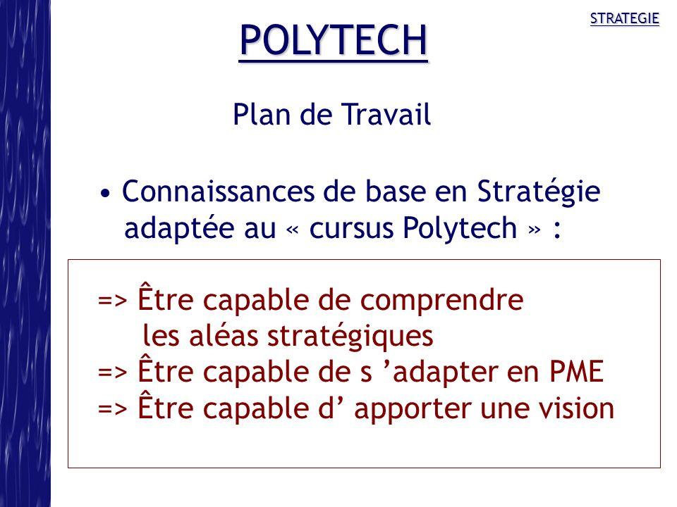 POLYTECH Plan de Travail Connaissances de base en Stratégie