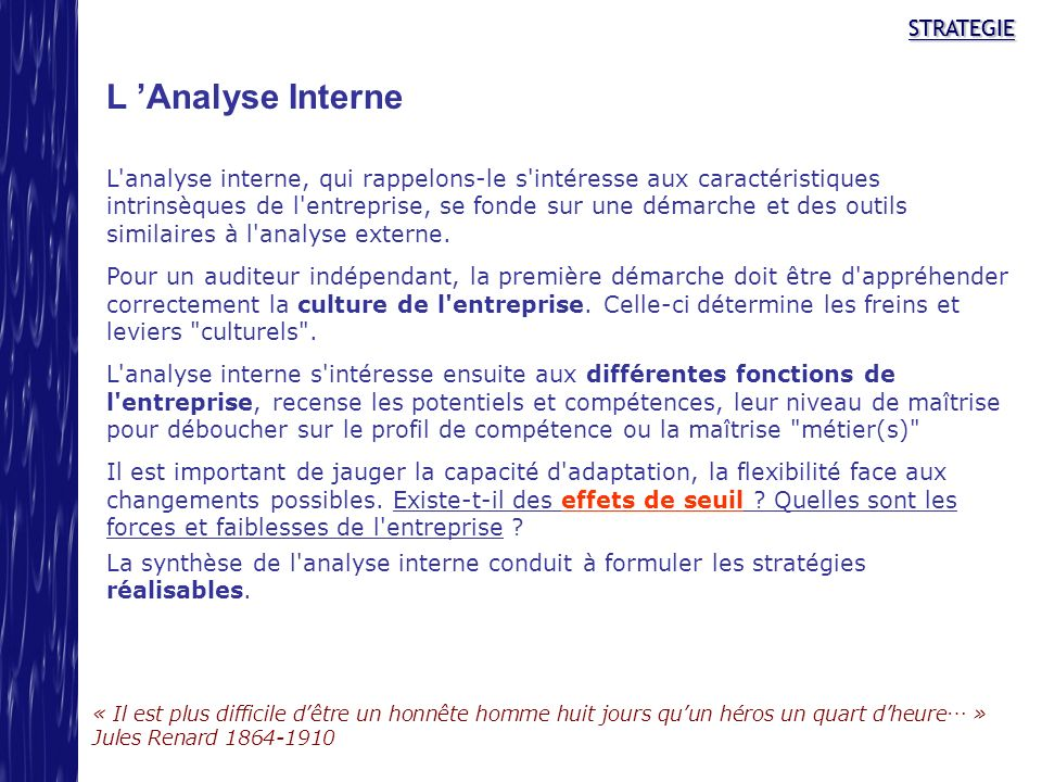 L 'Analyse Interne STRATEGIE
