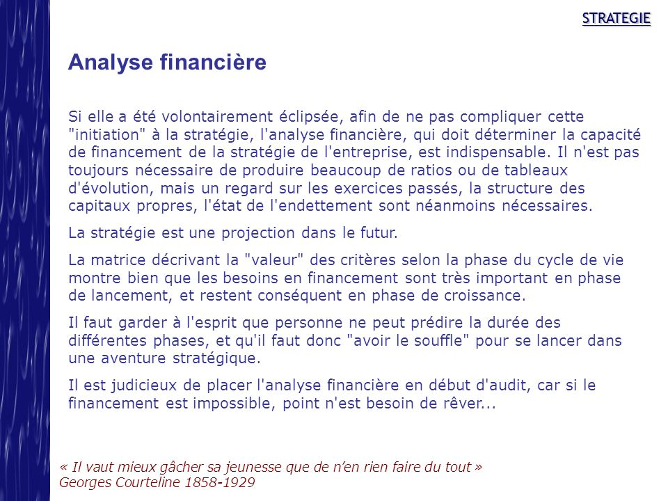 Analyse financière STRATEGIE