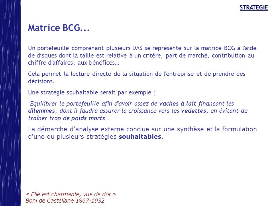 STRATEGIE Matrice BCG...