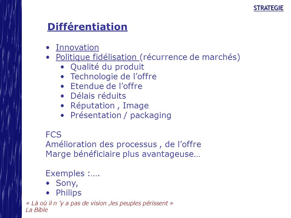 Différentiation Innovation