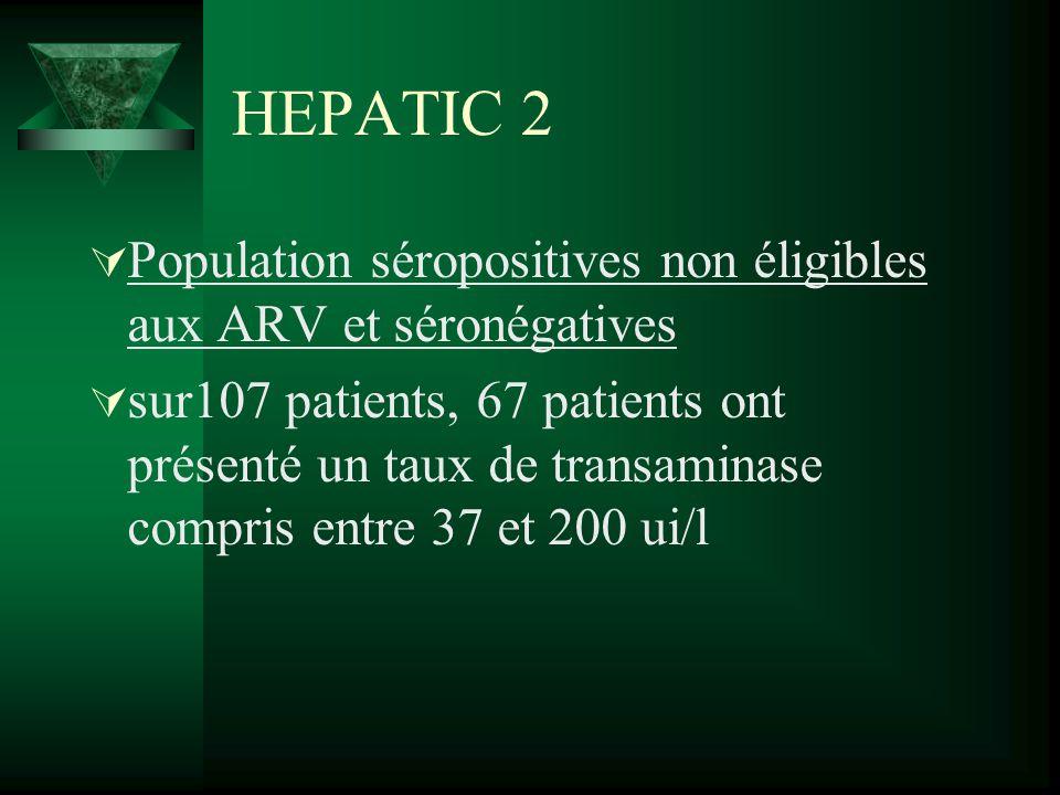 HEPATIC 2 Population séropositives non éligibles aux ARV et séronégatives.