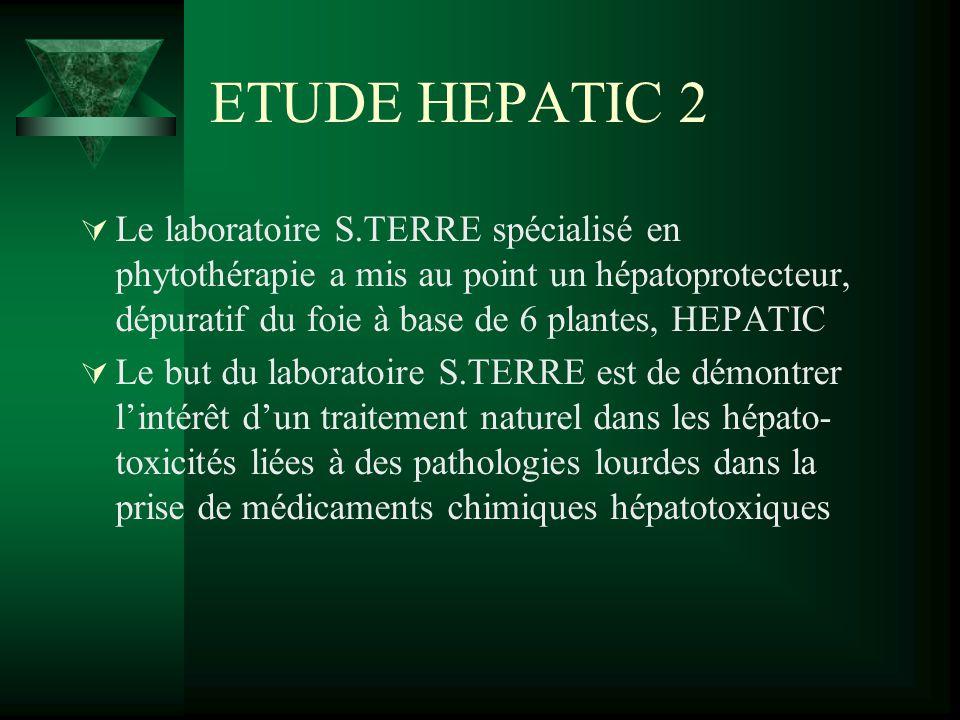 ETUDE HEPATIC 2 Le laboratoire S.TERRE spécialisé en phytothérapie a mis au point un hépatoprotecteur, dépuratif du foie à base de 6 plantes, HEPATIC.