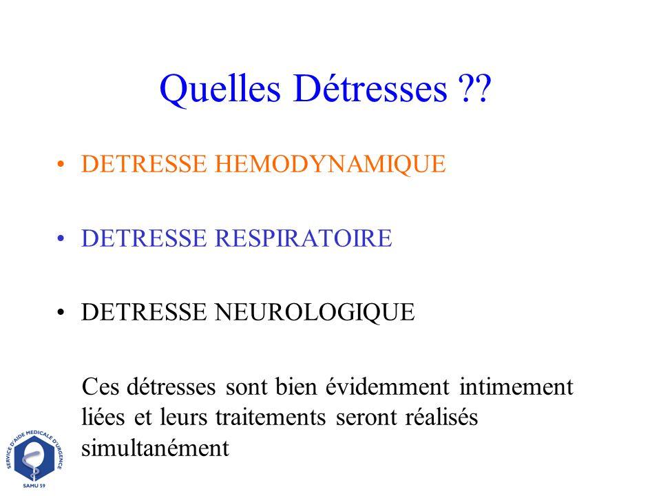 Quelles Détresses DETRESSE HEMODYNAMIQUE DETRESSE RESPIRATOIRE