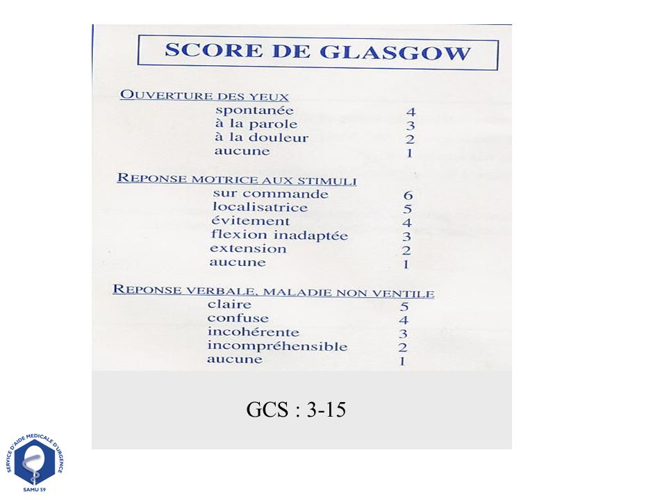 GCS : 3-15