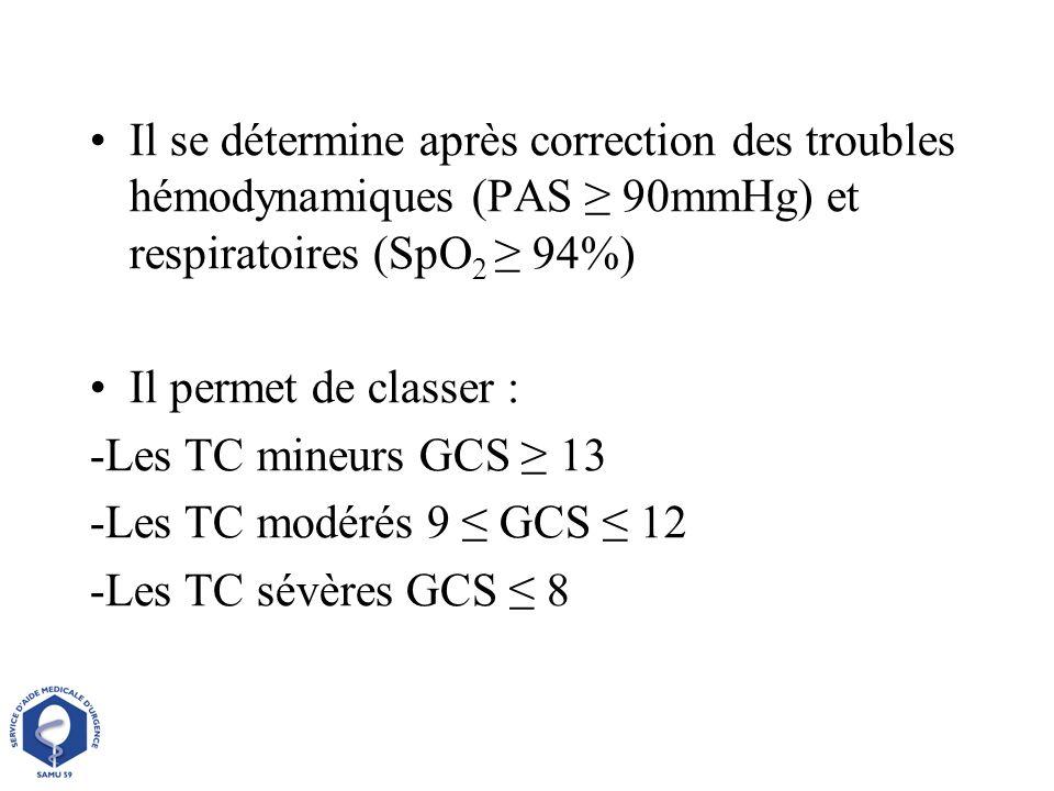 Il se détermine après correction des troubles hémodynamiques (PAS ≥ 90mmHg) et respiratoires (SpO2 ≥ 94%)