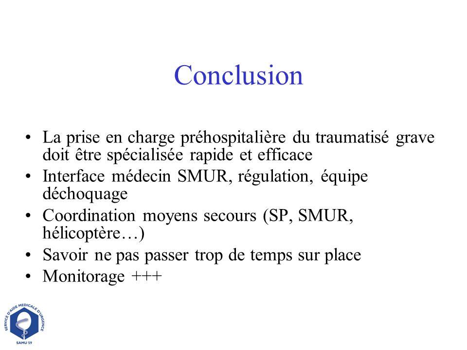 ConclusionLa prise en charge préhospitalière du traumatisé grave doit être spécialisée rapide et efficace.