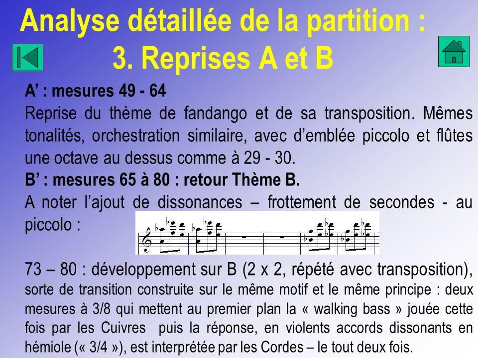 Analyse détaillée de la partition : 3. Reprises A et B
