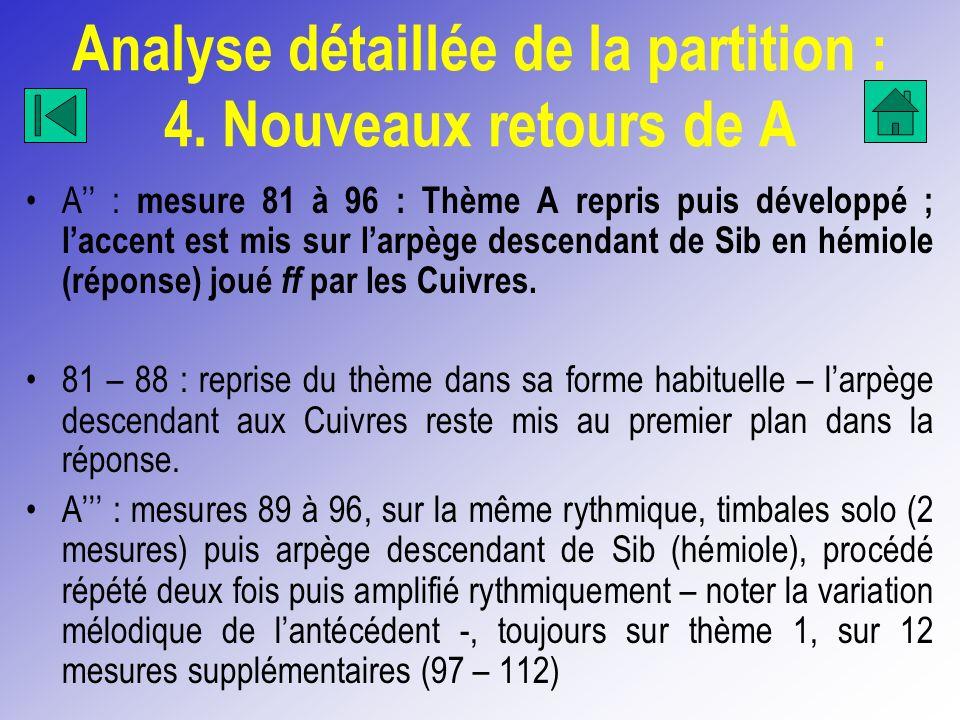 Analyse détaillée de la partition : 4. Nouveaux retours de A