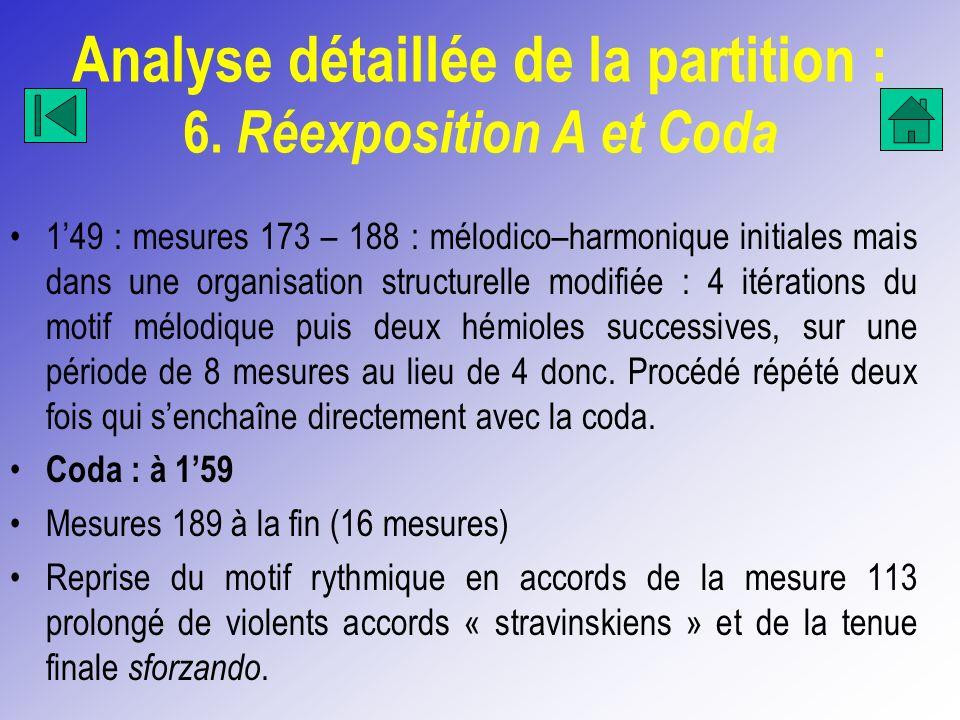 Analyse détaillée de la partition : 6. Réexposition A et Coda