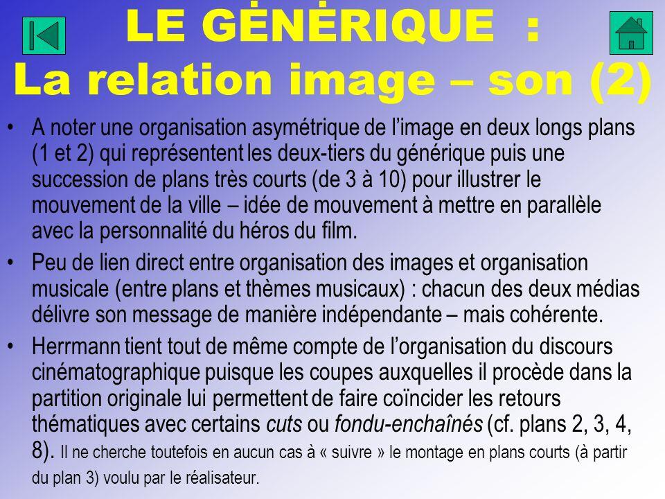 LE GĖNĖRIQUE : La relation image – son (2)