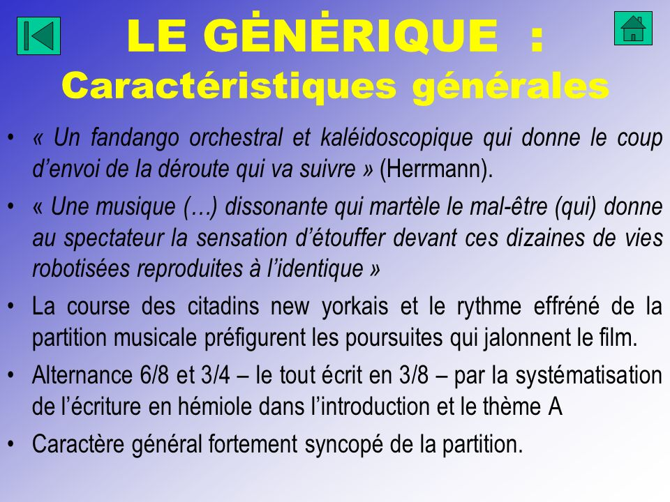 LE GĖNĖRIQUE : Caractéristiques générales