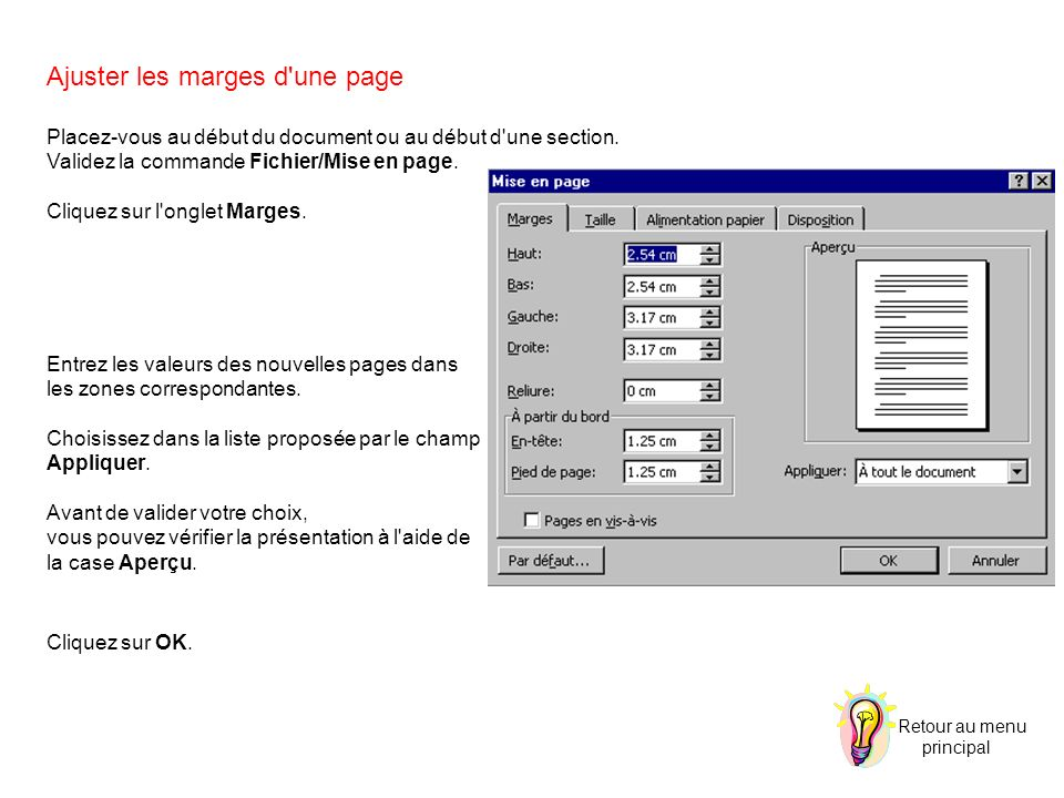 Ajuster les marges d une page