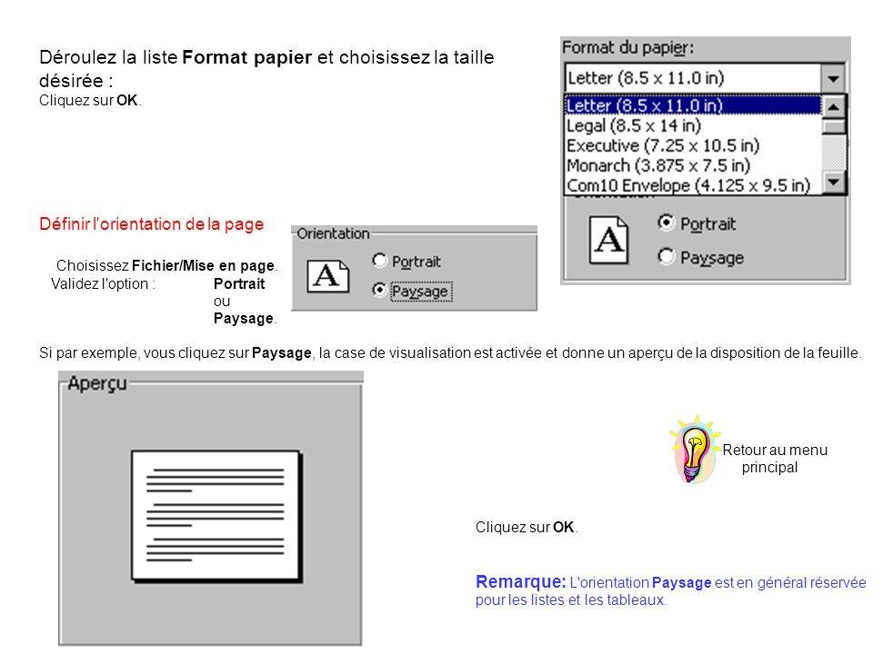 Déroulez la liste Format papier et choisissez la taille désirée :