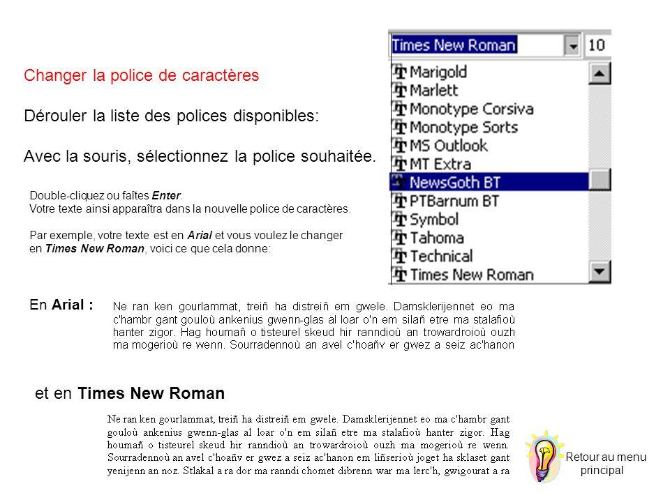 Changer la police de caractères