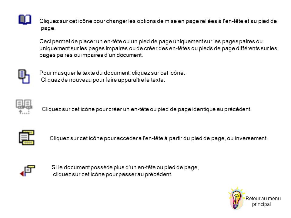 pages paires ou impaires d un document.
