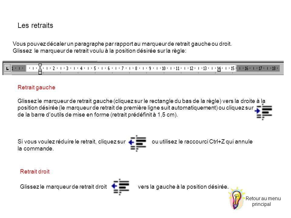 Les retraits Vous pouvez décaler un paragraphe par rapport au marqueur de retrait gauche ou droit.