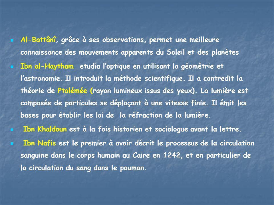 Al-Battânî, grâce à ses observations, permet une meilleure connaissance des mouvements apparents du Soleil et des planètes