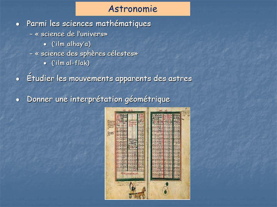 Astronomie Parmi les sciences mathématiques