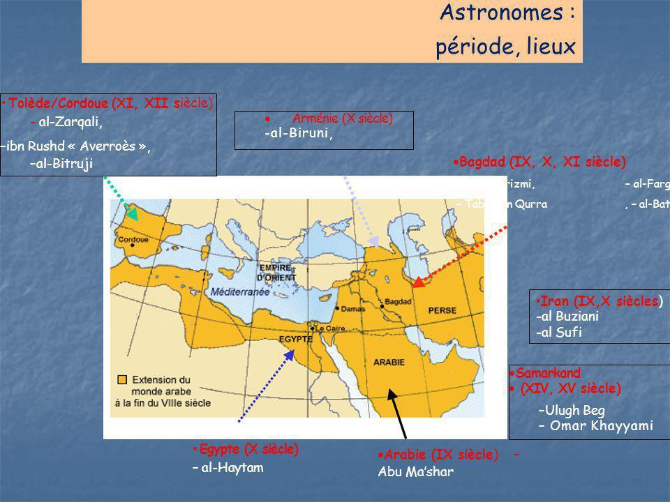 Astronomes : période, lieux