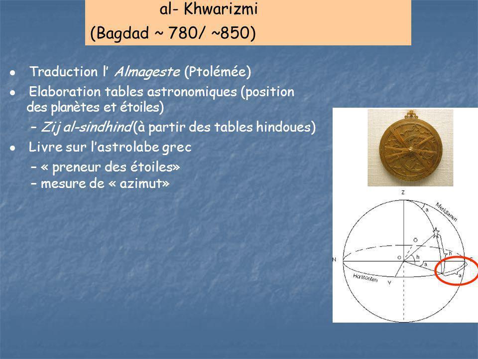 al- Khwarizmi (Bagdad ~ 780/ ~850) Traduction l' Almageste (Ptolémée)