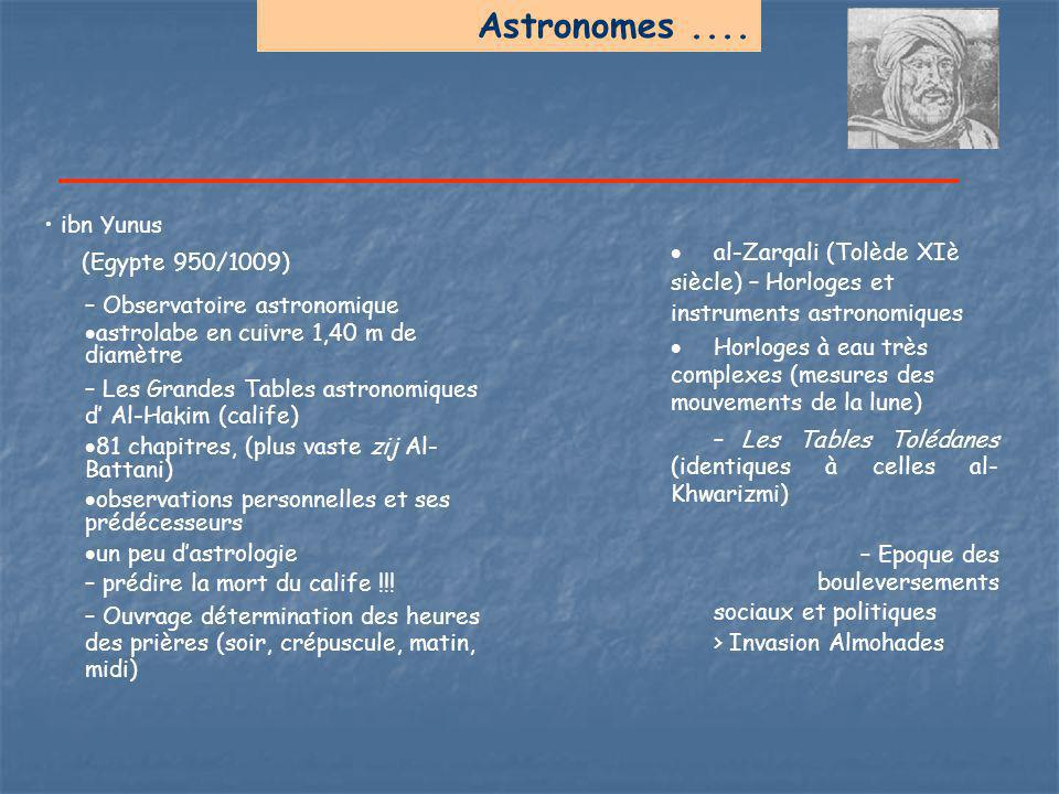 Astronomes .... • ibn Yunus (Egypte 950/1009)