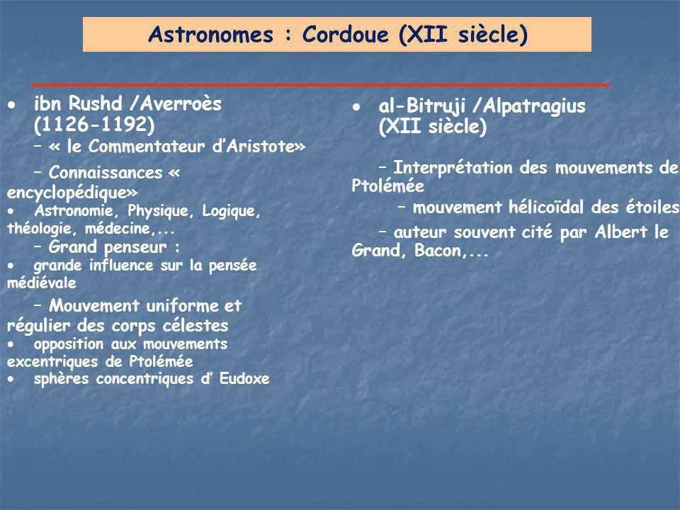 Astronomes : Cordoue (XII siècle)