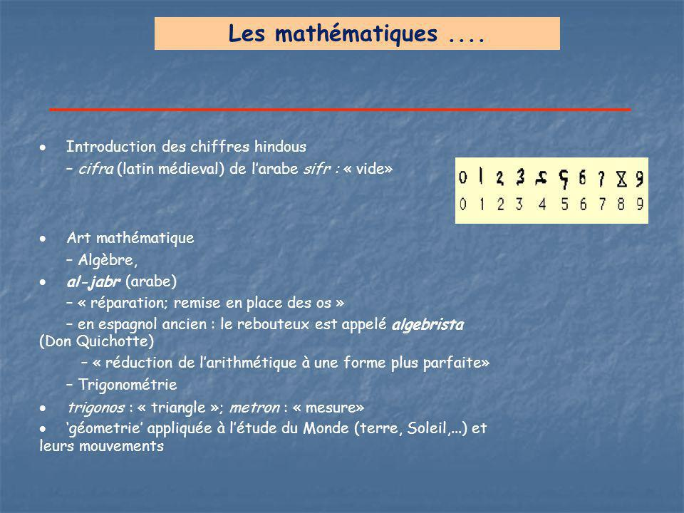 Les mathématiques .... Introduction des chiffres hindous