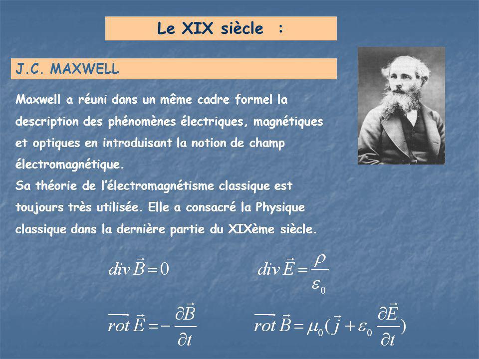 Le XIX siècle : J.C. MAXWELL