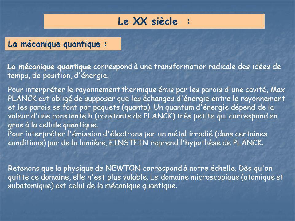 Le XX siècle : La mécanique quantique :