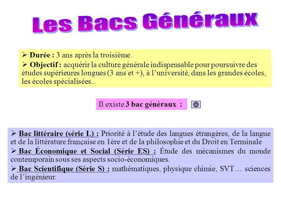 Les Bacs Généraux Durée : 3 ans après la troisième.